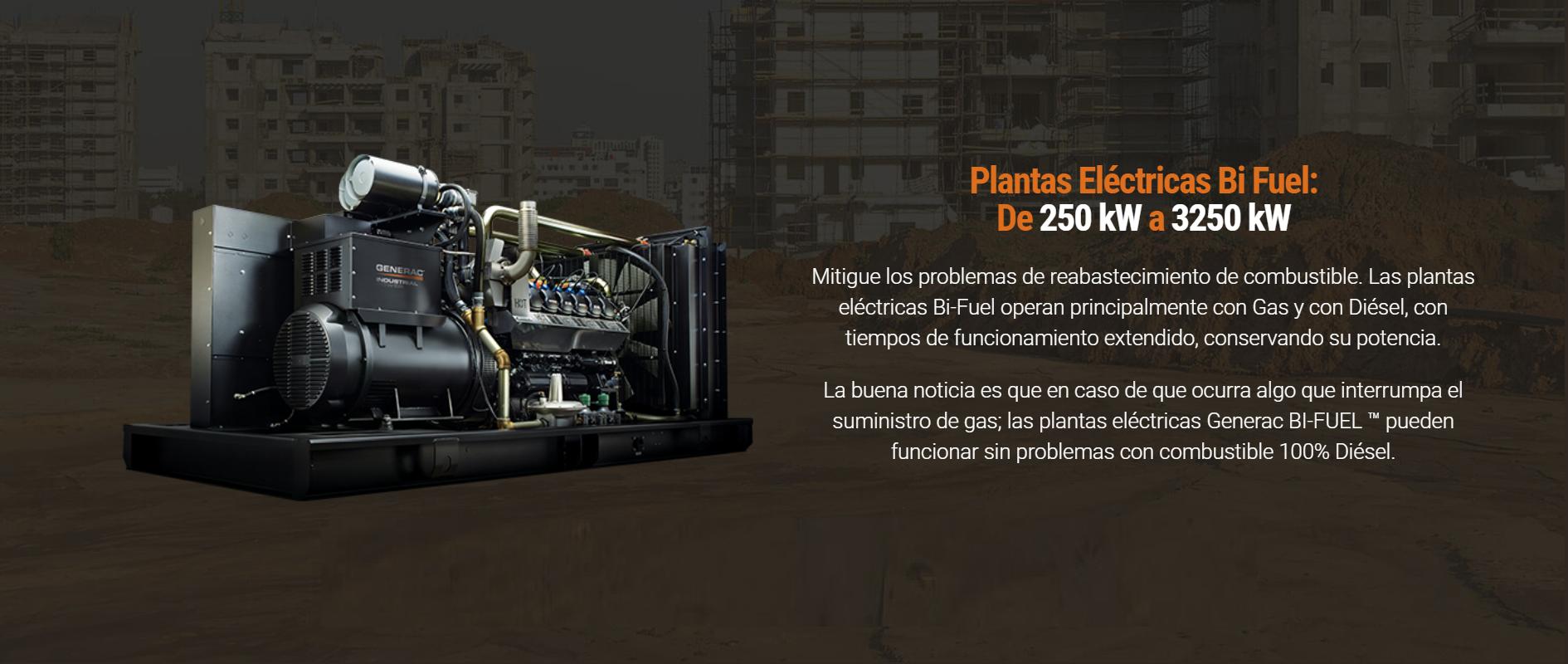 Plantas Eléctricas Bi Fuel De 250 kW a 3250 kW