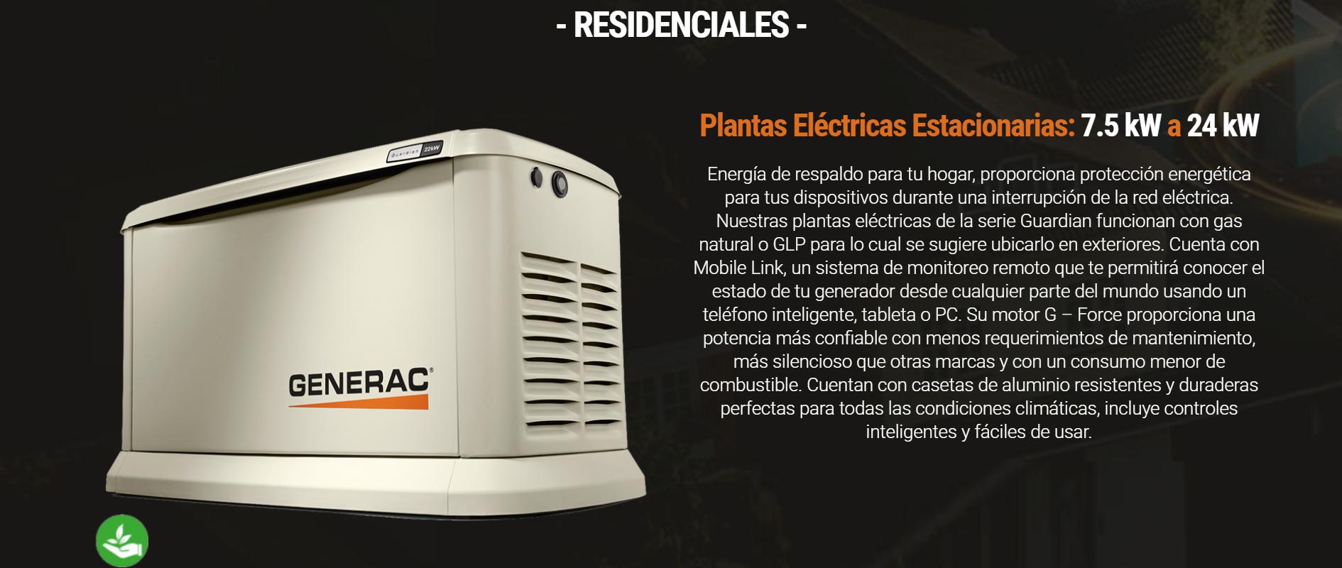 Plantas Eléctricas Estacionarias 7.5 kW a 24 kW.