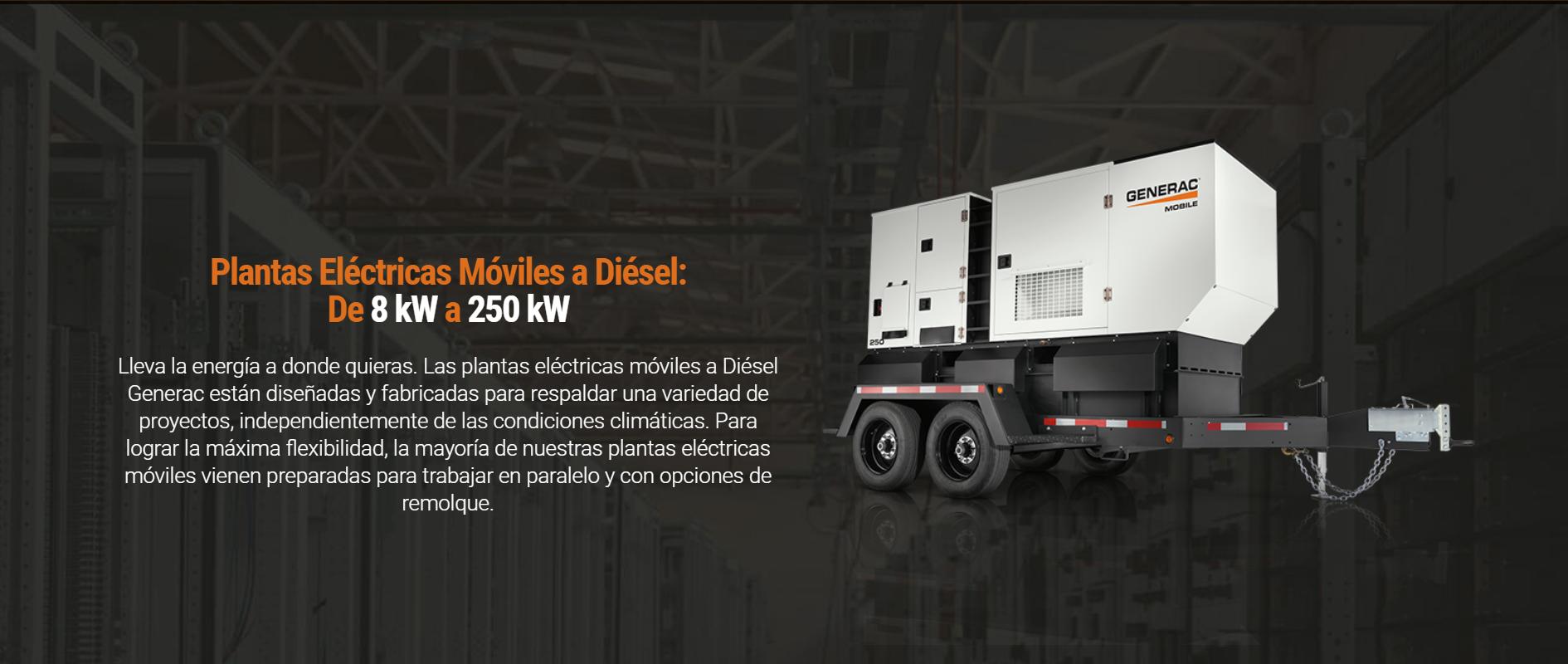Plantas Eléctricas Móviles a Diésel De 8 kW a 250 kW
