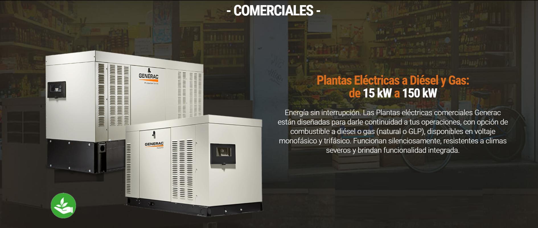 Plantas Eléctricas a Diésel y Gas de 15 kW a 150 kW